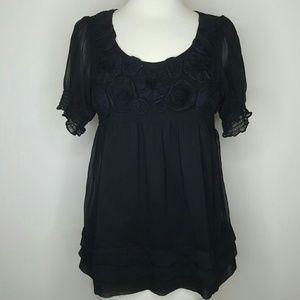 Black floral babydoll blouse
